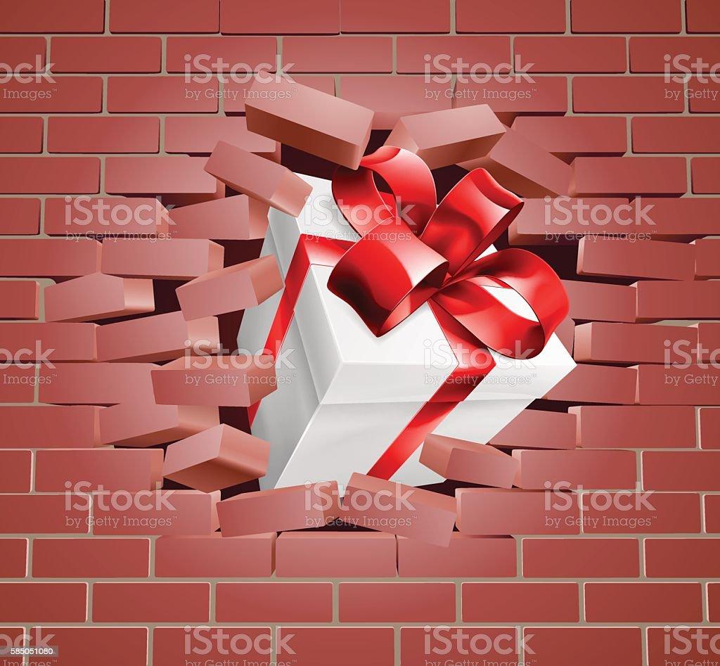 Gift Present Breaking Through Wall - arte vectorial de Agujero libre de derechos