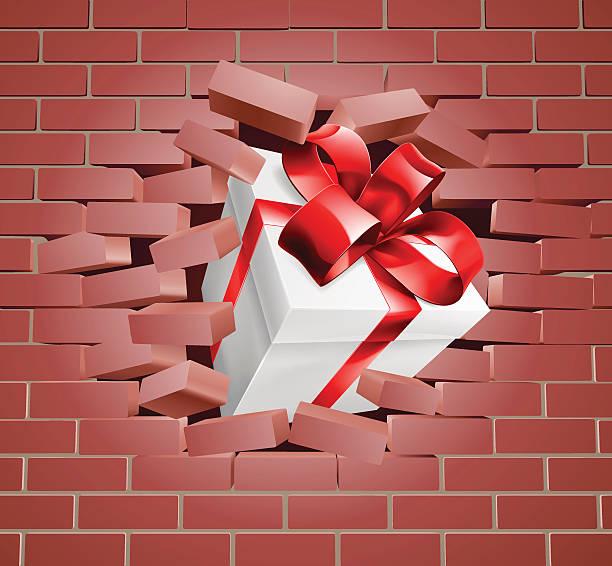 ilustraciones, imágenes clip art, dibujos animados e iconos de stock de gift present breaking through wall - black friday sale