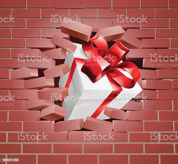 Ilustración de Gift Present Breaking Through Wall y más Vectores Libres de Derechos de Agujero