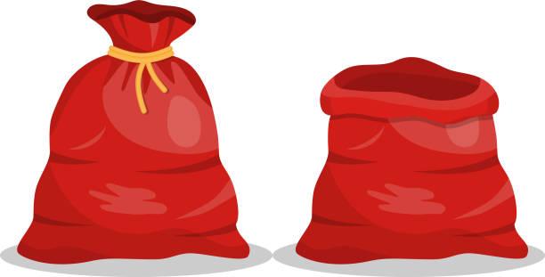 stockillustraties, clipart, cartoons en iconen met cadeau zak, tas van de kerstman - zak tas