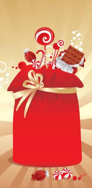 geschenk-beutel mit süßigkeiten - weihnachtsschokolade stock-grafiken, -clipart, -cartoons und -symbole