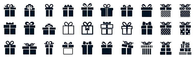 Gift set different icon, collection gift signs - stock vector