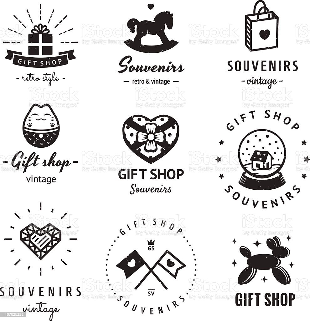 Gift shop and souvenirs logo vintage vector set. Hipster style. vector art illustration