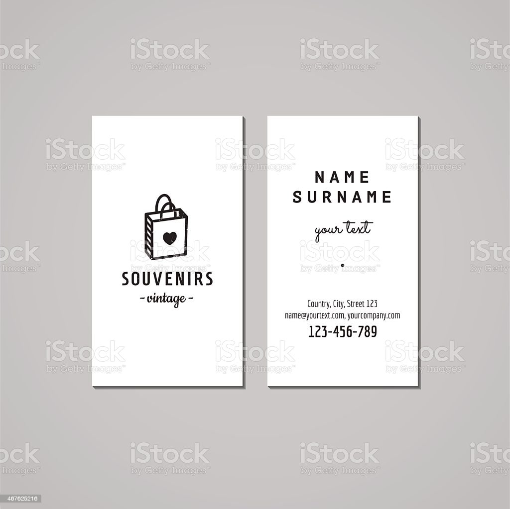Gift Shop Business Card Design Concept Logo With Gift Bag stock ...