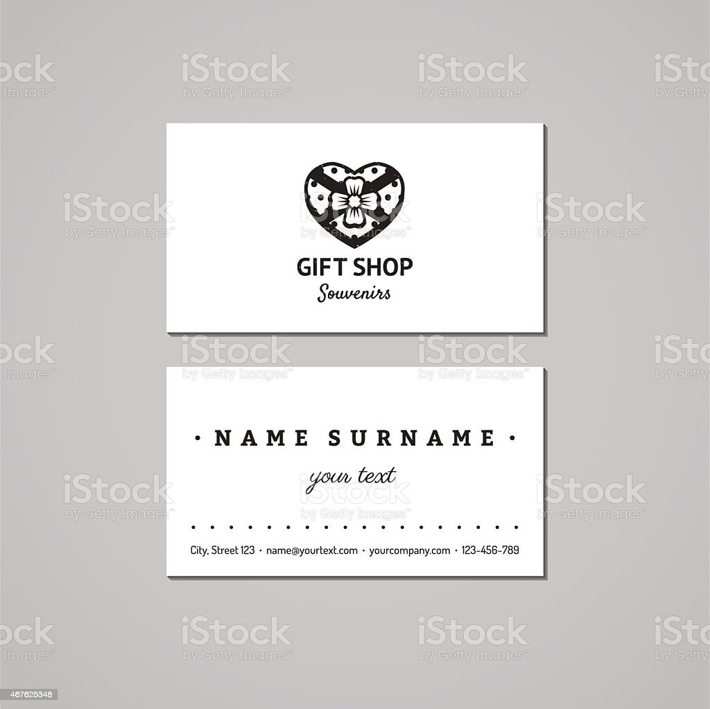 Gift shop business card design concept logo with heart box stock gift shop business card design concept logo with heart box royalty free gift shop reheart Image collections