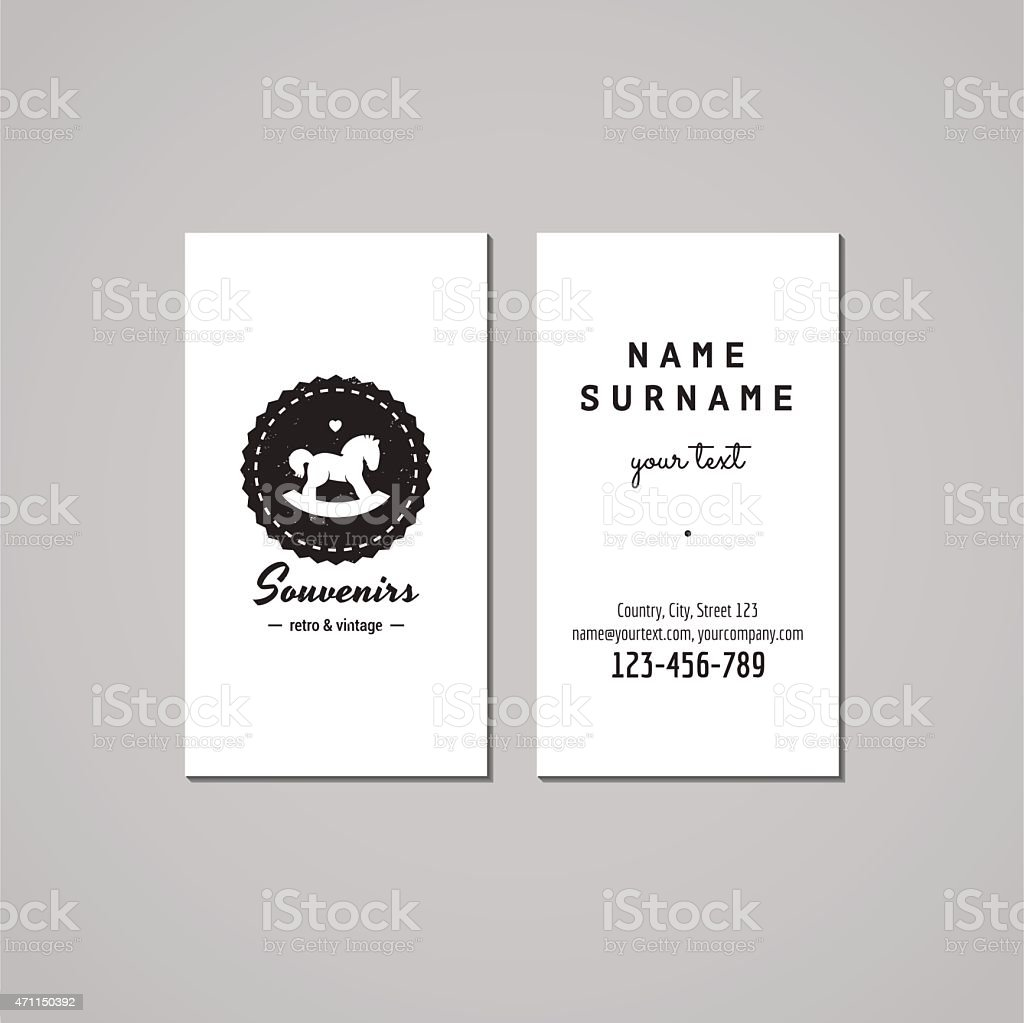 Gift Shop Business Card Design Concept Logo With Rocking Horse Stock ...