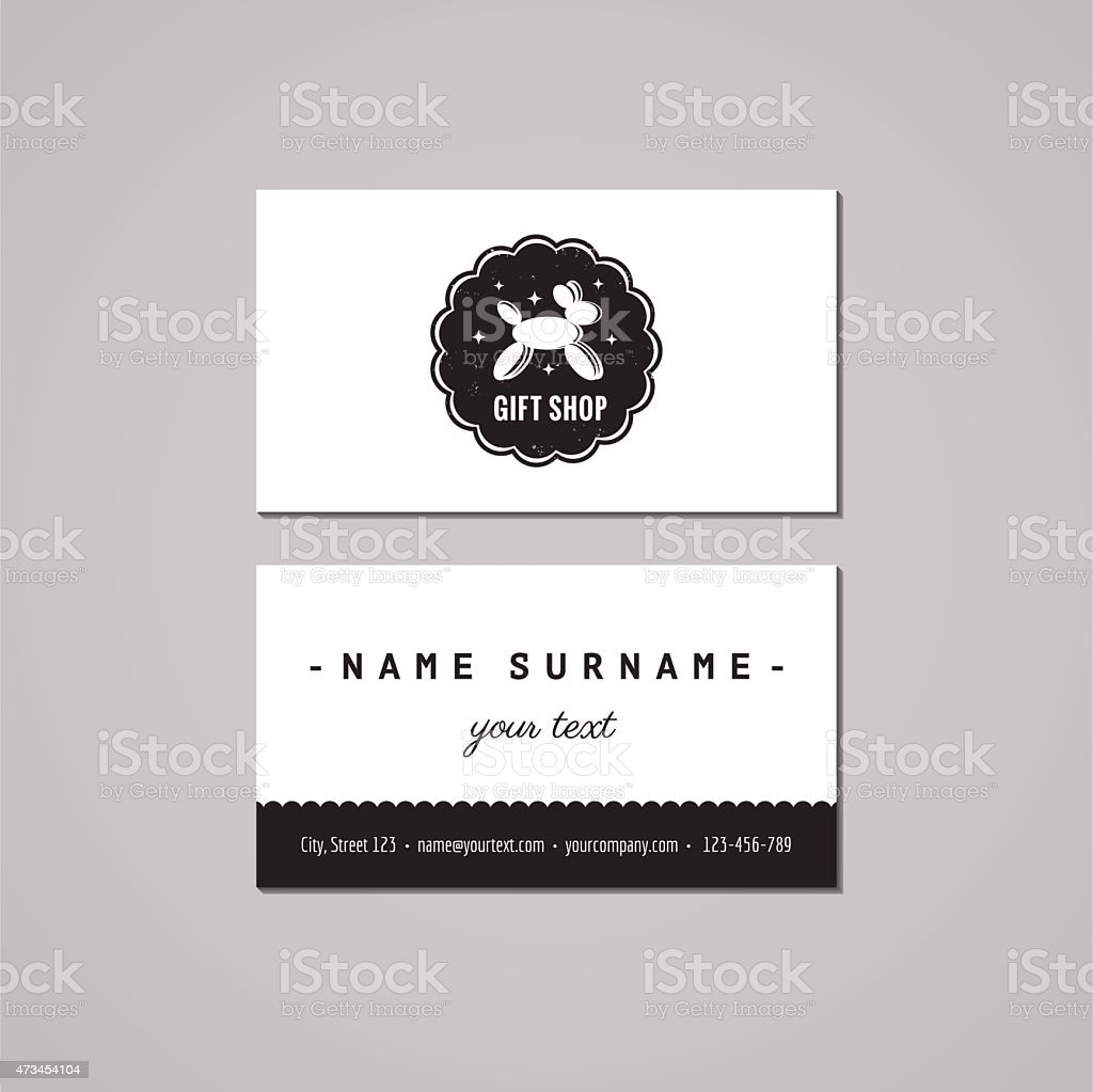 Gift shop business card design concept logobadge with balloon dog gift shop business card design concept logo badge with balloon dog royalty free reheart Image collections