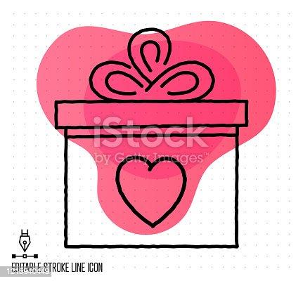 istock Gift Shop Vector Editable Line Illustration 1215940449