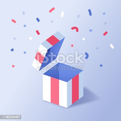 Empty gift surprise present box with confetti celebration party and space for your content.