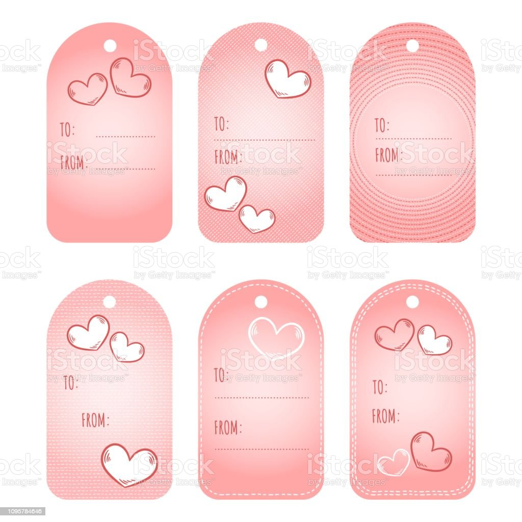Gift Tags Labels Valentines Day Printable Tags Set Love Heart Cute