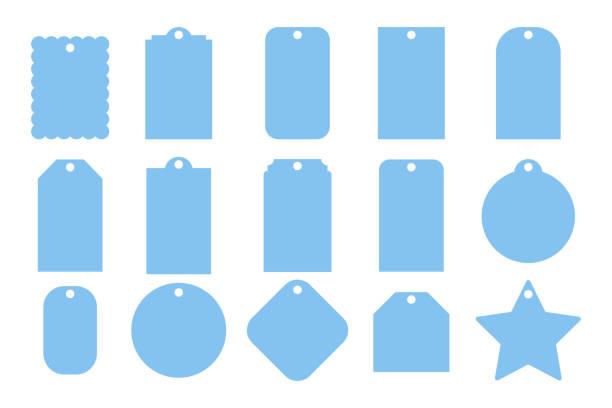 geschenkanhänger. satz von frames. leere vorlagen. papier-preisschilder - hundehalsbänder stock-grafiken, -clipart, -cartoons und -symbole