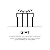 Gift Vector Line Icon - Simple Thin Line Icon, Premium Quality Design Element