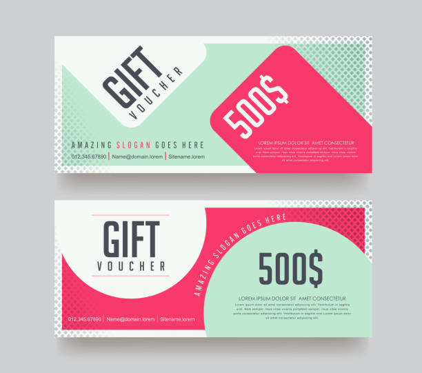 gift voucher 97 Gift Voucher discount template with colorful background . Vector illustration.banners.Wallpaper.flyers, invitation, posters,tag, brochure. coupon stock illustrations