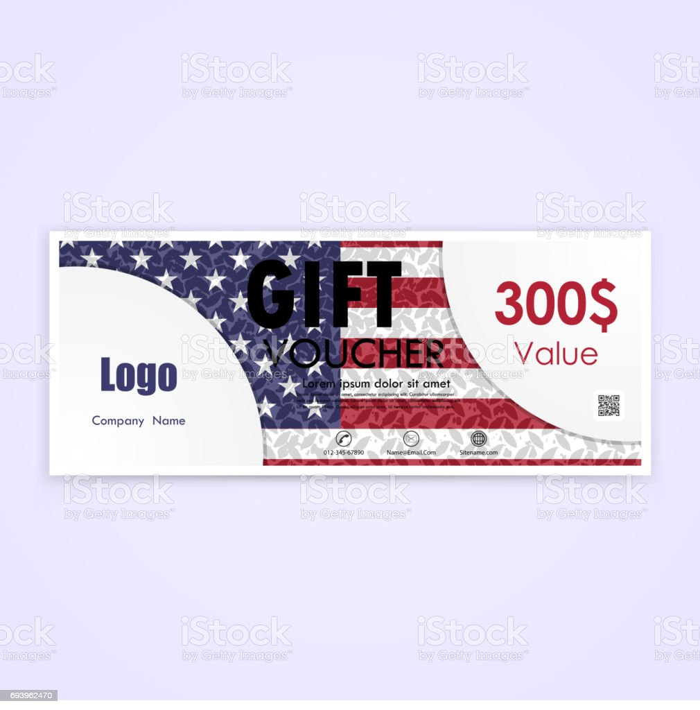 gift voucher american flag background or certificate coupon template