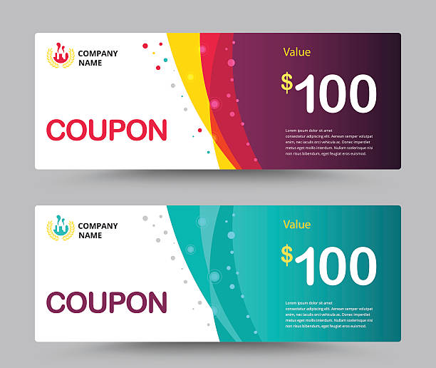 gift voucher card template design. coupon template. vector. - coupon stock illustrations, clip art, cartoons, & icons