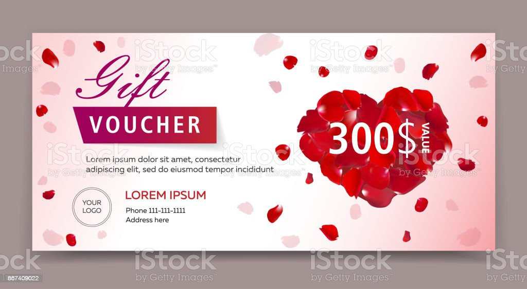Gift Voucher Certificate Or Coupon Template For Valentines Or Womans ...