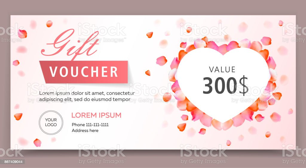 Gift voucher, certificate or coupon template for valentines or womans day. Eps 10 vector illustration. Background for invitation, shop, beauty salon, spa. vector art illustration