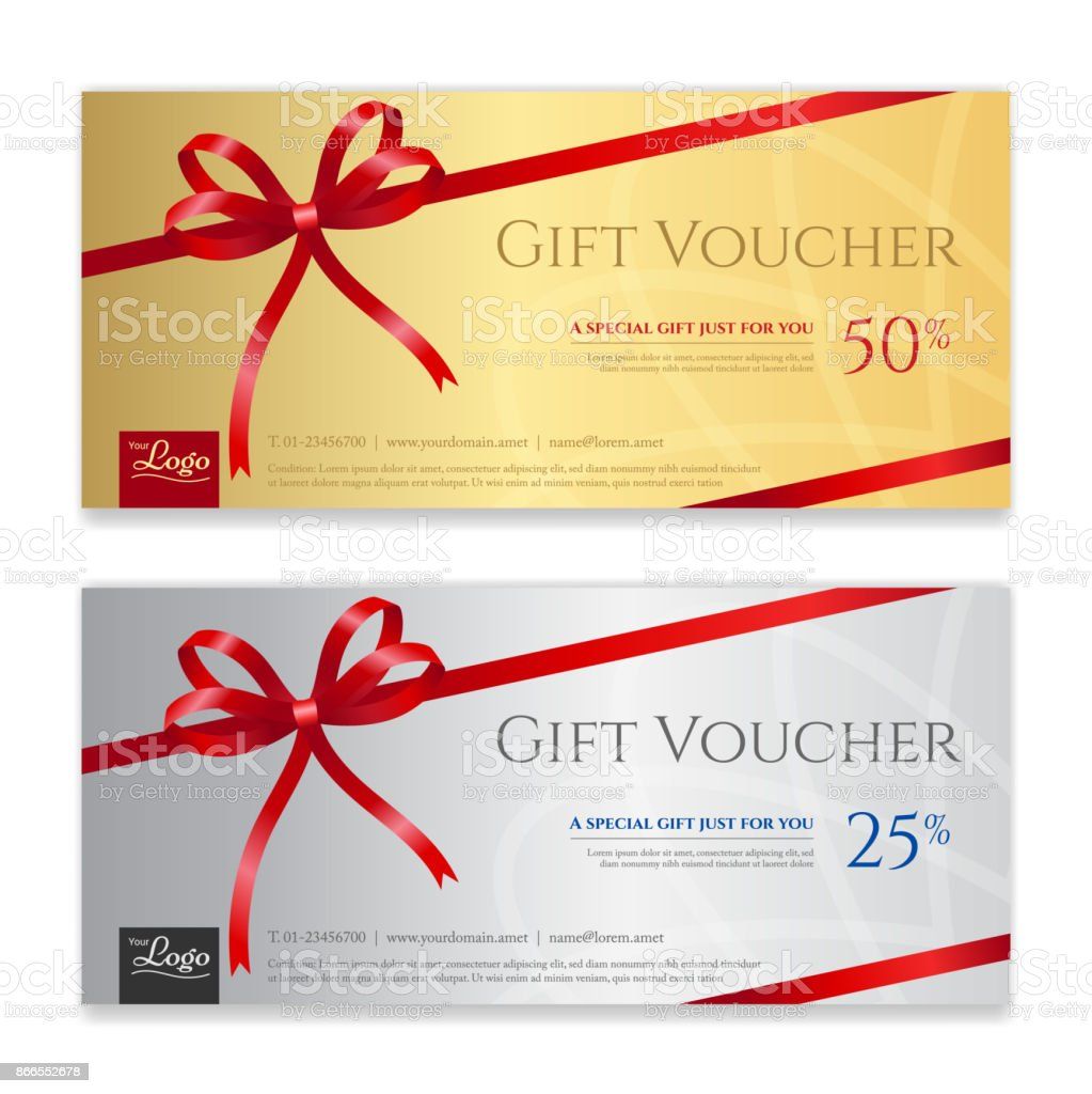 Gift Voucher Certificate Or Discount Card Template For Promo