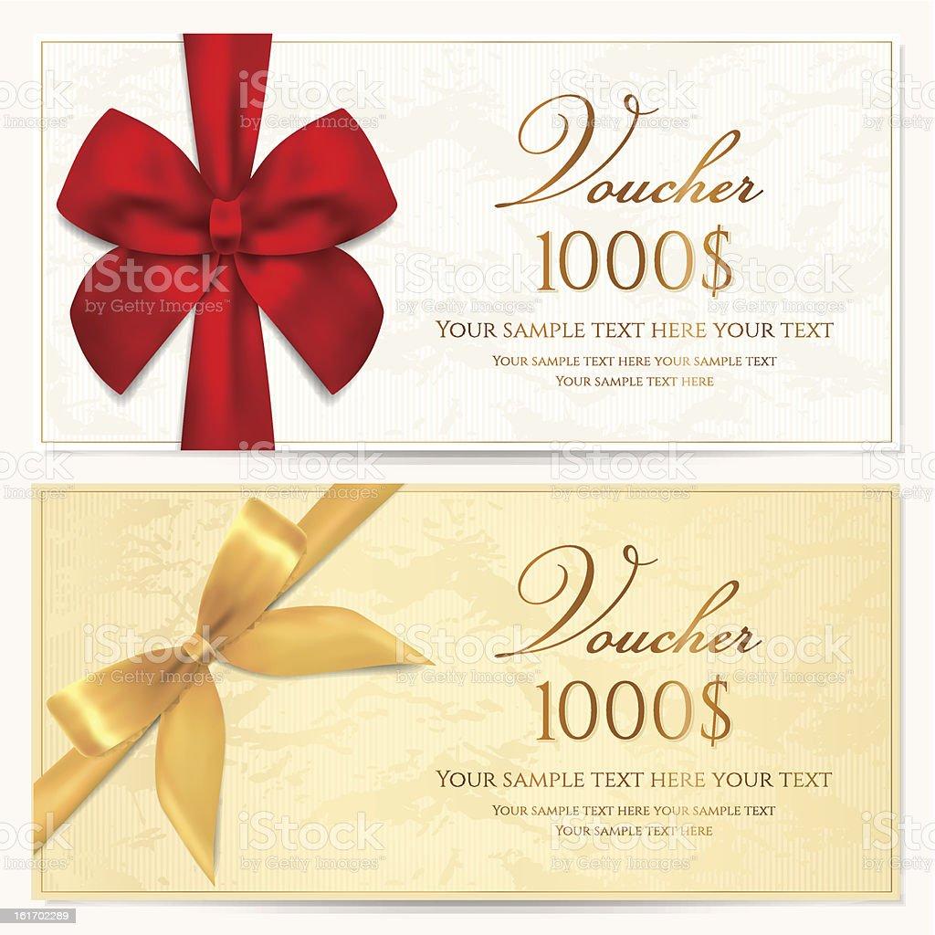 Geschenkgutscheincouponkartetagzertifikat Vorlage Gold Bänder ...