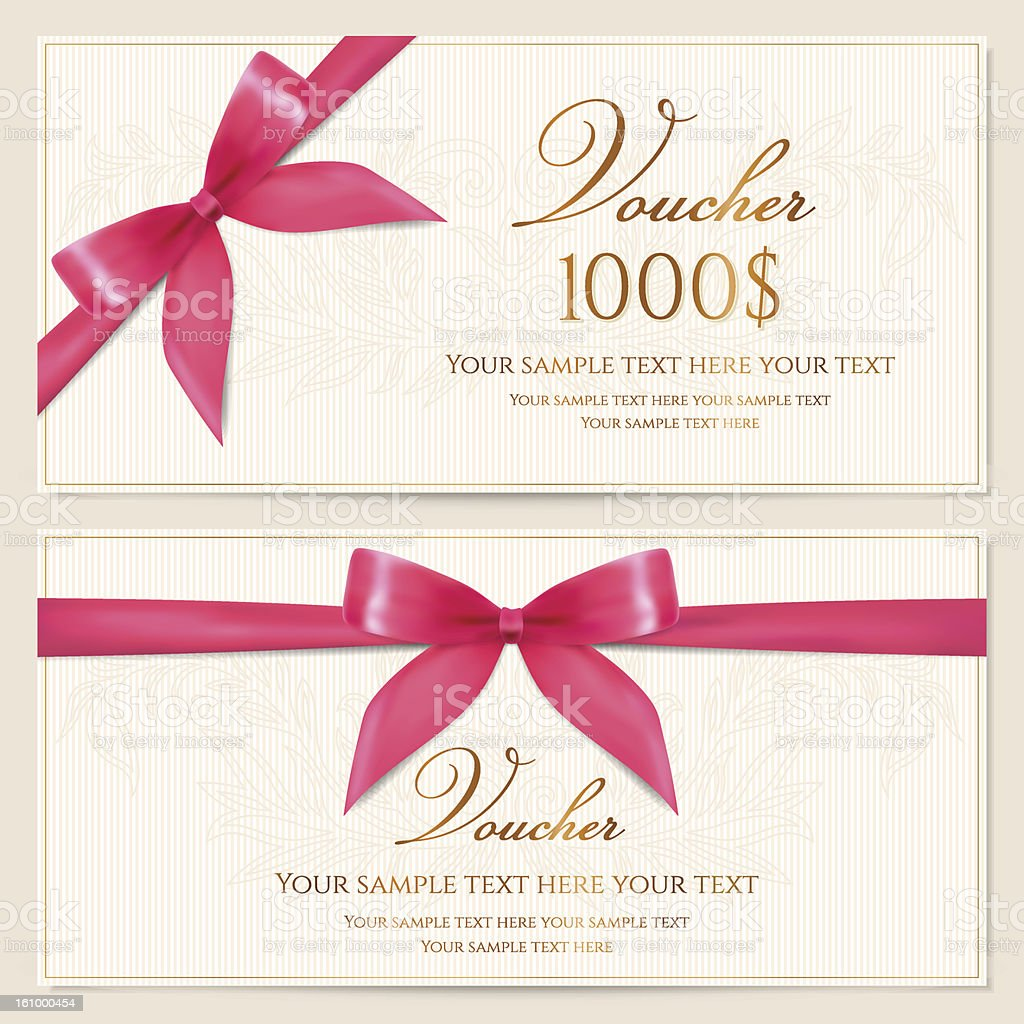 Gift Voucher / coupon / card/ tag / certificate template. Pink bow (ribbons) vector art illustration
