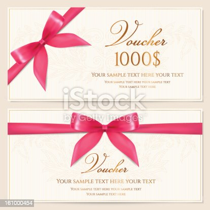 Gift Voucher Coupon Card Tag Certificate Template Pink Bow Stock