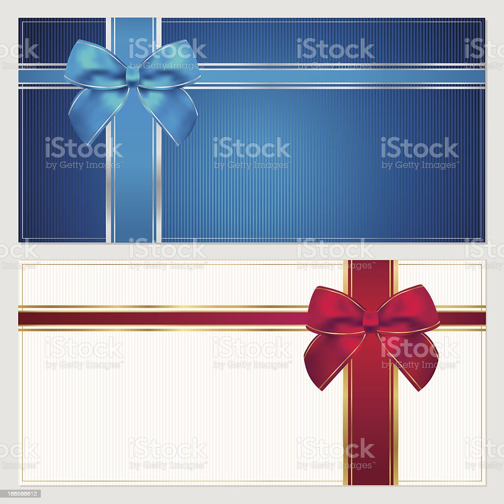 Gift Voucher / coupon template with blue and red bow (ribbons) royalty-free gift voucher coupon template with blue and red bow stock vector art & more images of blank