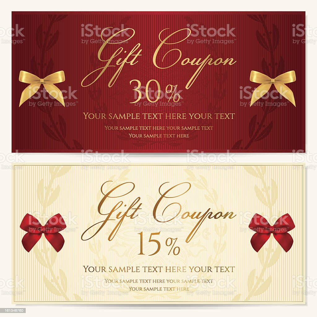 Gift Voucher Coupon Template With Red And Gold Bow Stock Vector Art ...