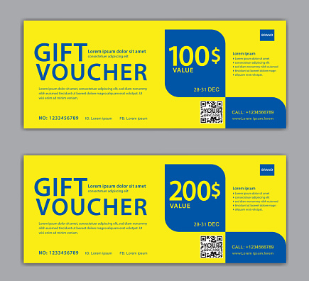 gift voucher design on yellow background, Discount Voucher template, discount card, coupon, certificate, Labe, Sale banner, headers, banner design, gift card, promotion card, element graphic, Vector