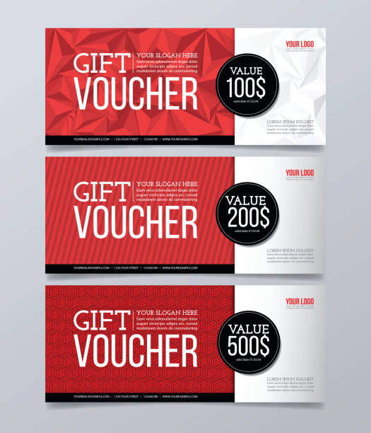 illustrazioni stock, clip art, cartoni animati e icone di tendenza di gift voucher design template. modern geometric banner background. - coupon