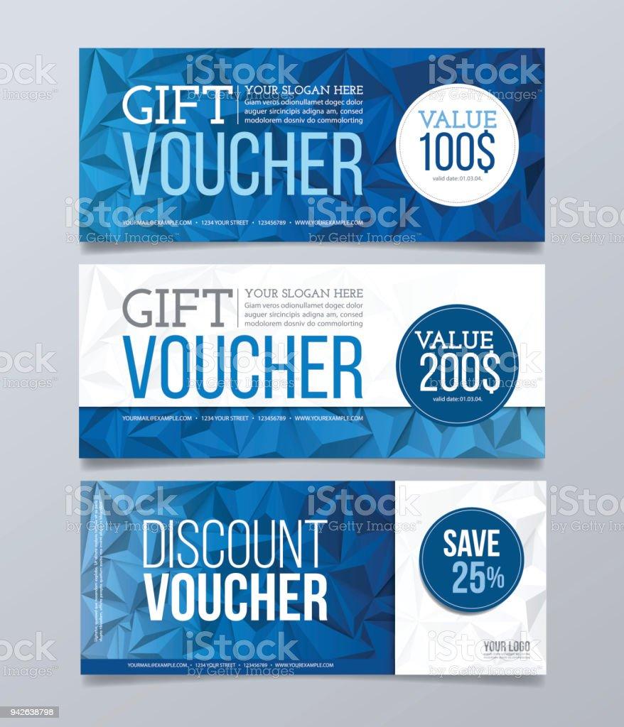 gift voucher design template modern geometric banner background