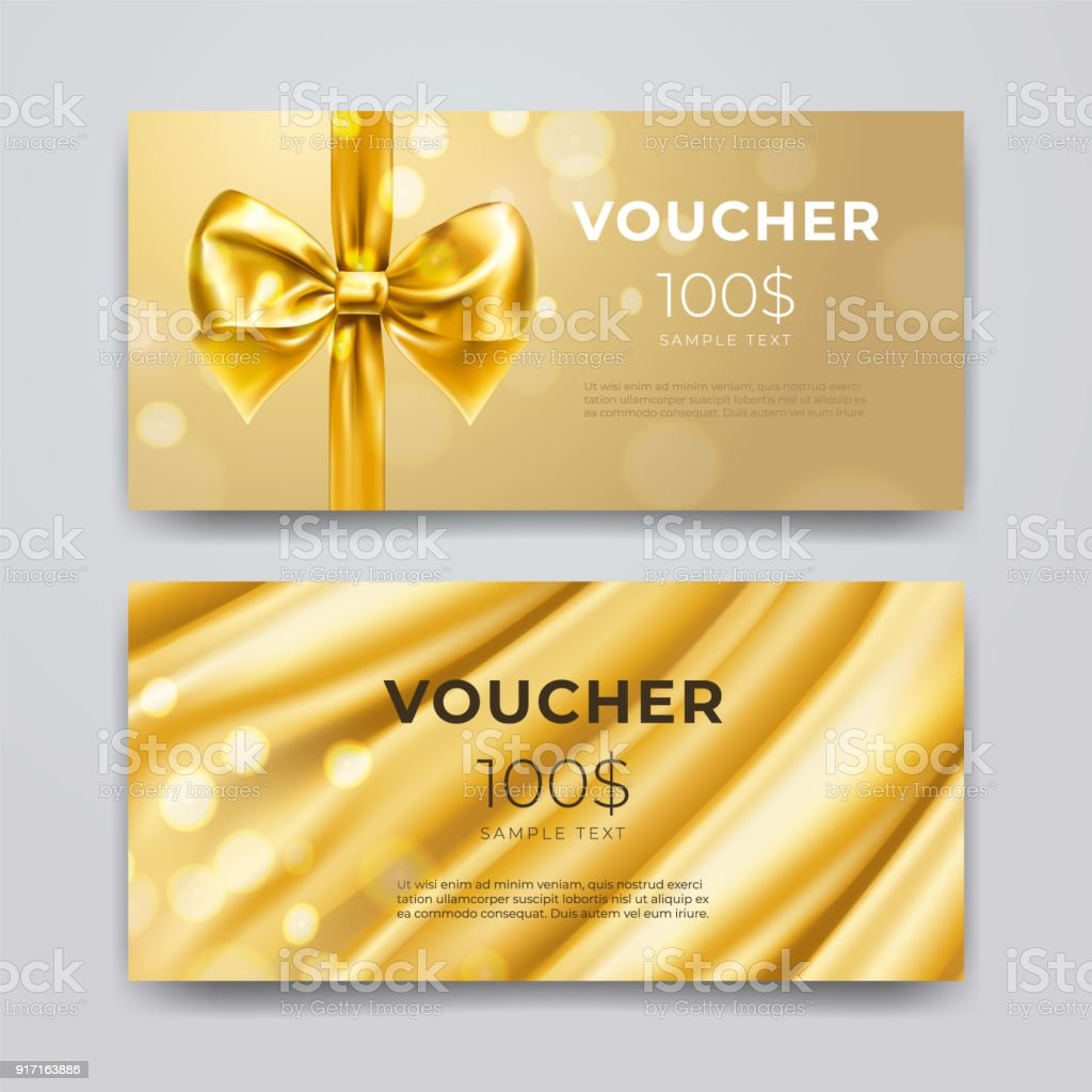 Gift voucher design template. Set of premium promotional card with realistic golden bow, ribbon and silk isolated on bokeh background. Discount certificates, coupon or leaflet. Vector 3d illustration vector art illustration
