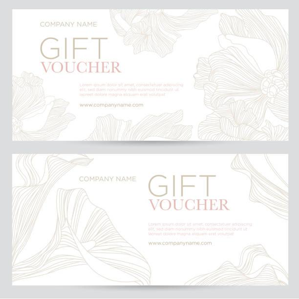 stockillustraties, clipart, cartoons en iconen met cadeaubon. elegante, feestelijke waardebon met gouden bloemen op een witte achtergrond. - birthday gift voucher