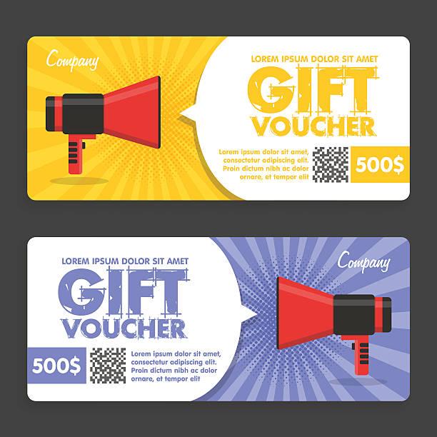 ilustraciones, imágenes clip art, dibujos animados e iconos de stock de cupón de regalo. diseño plano. anuncio - marcos de certificados y premios