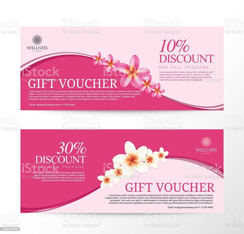 Gift Voucher for Spa Hotel Resort, Frangipani Flowers Tropical S vector art illustration
