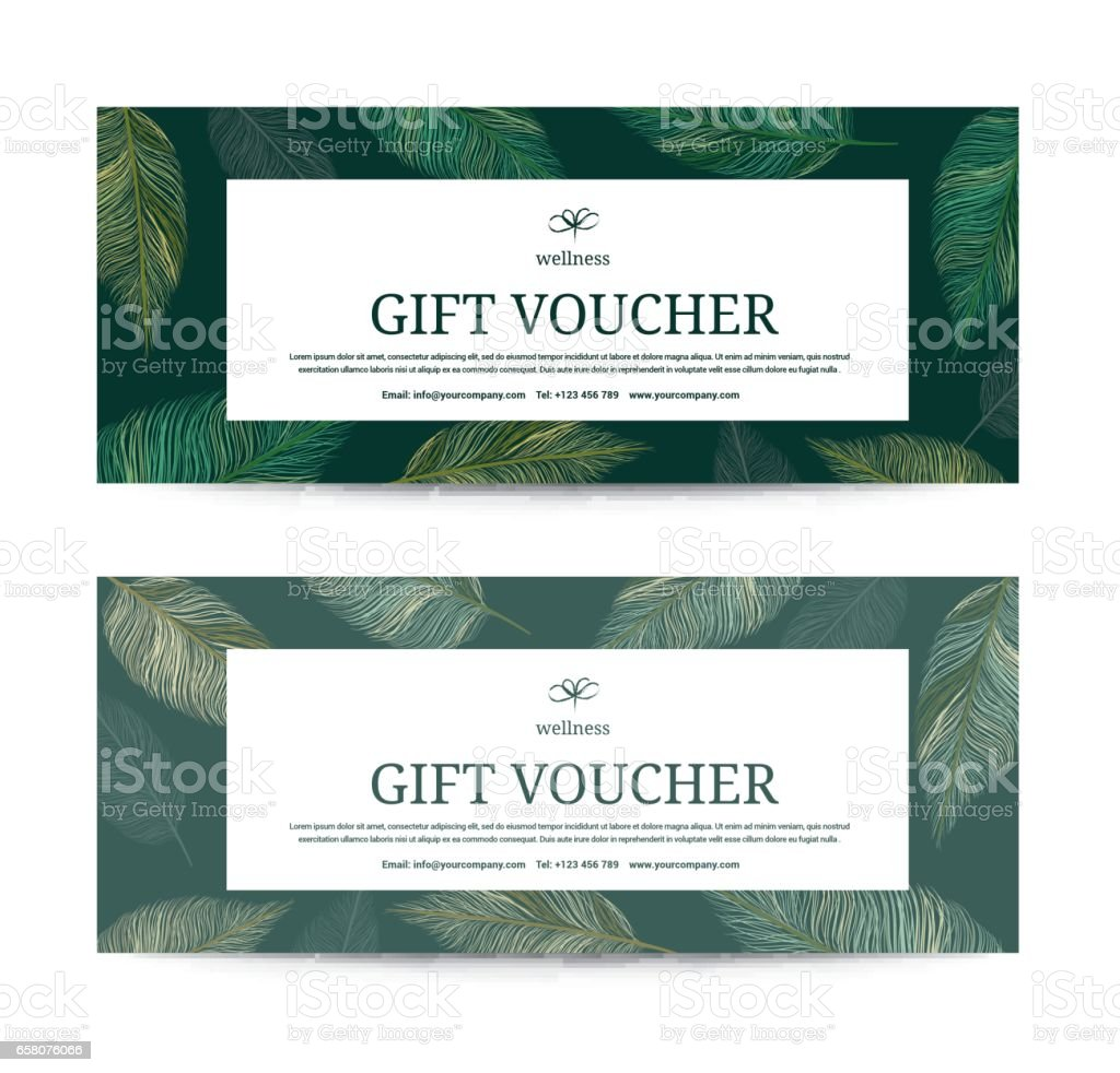 Gift Voucher Leaf Feather Peacock Template For Spa Hotel Resort