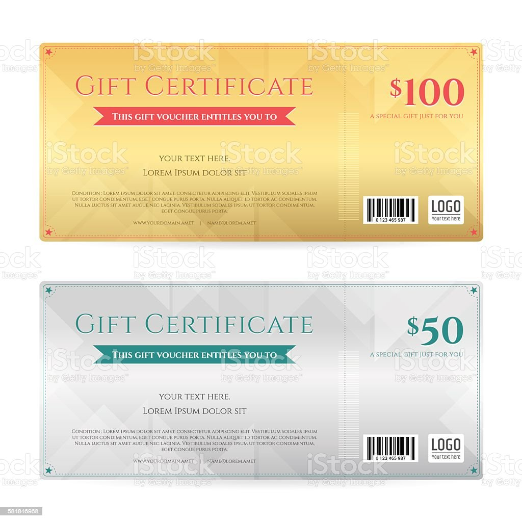 Gift Voucher Or Gift Certificate Template Stock Vector Art More