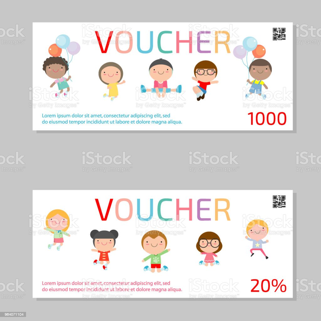 Gift voucher template and kids . Voucher template  template with colorful pattern. bright concept. Vector illustration - Royalty-free Advertisement stock vector
