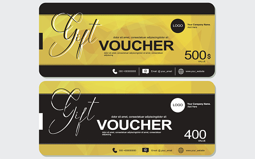 Gift Voucher template, coupon design, ticket, banner, cards, polygon background, vector illustration stock illustration Banner - Sign, Web Banner, Gift Certificate or Card, Template