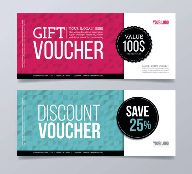 Gift voucher template design and abstract geometric background. Abstract, pattern background, horizontal, gift card coupon stock illustrations
