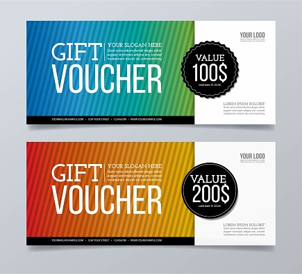 Gift voucher template design and striped pattern background.
