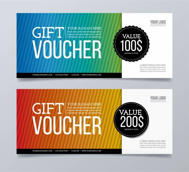 Gift voucher template design and striped pattern background. Gift, Banner - Sign, Discount Store, Number 100, Price coupon stock illustrations