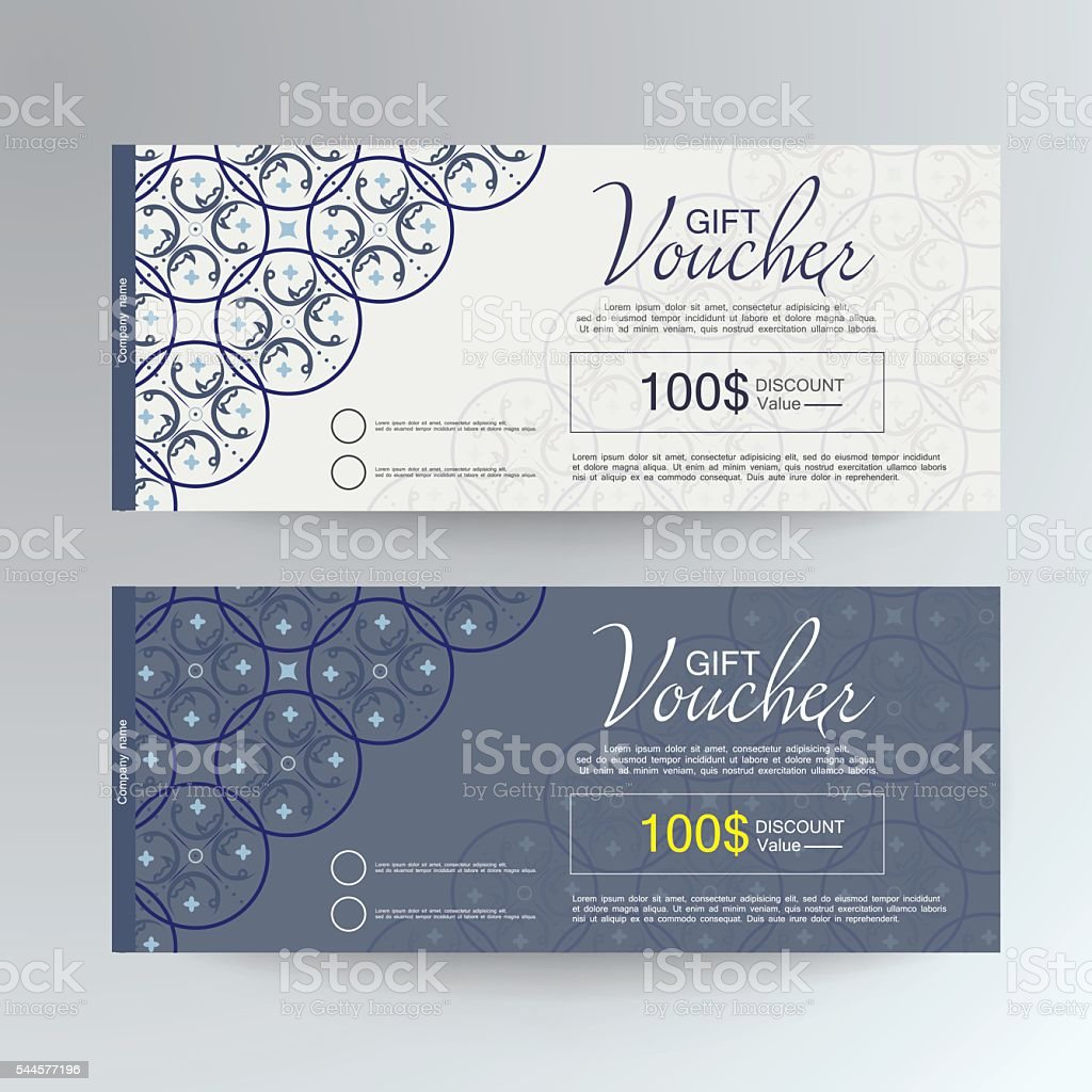 gift voucher template design concept for gift coupon stock vector