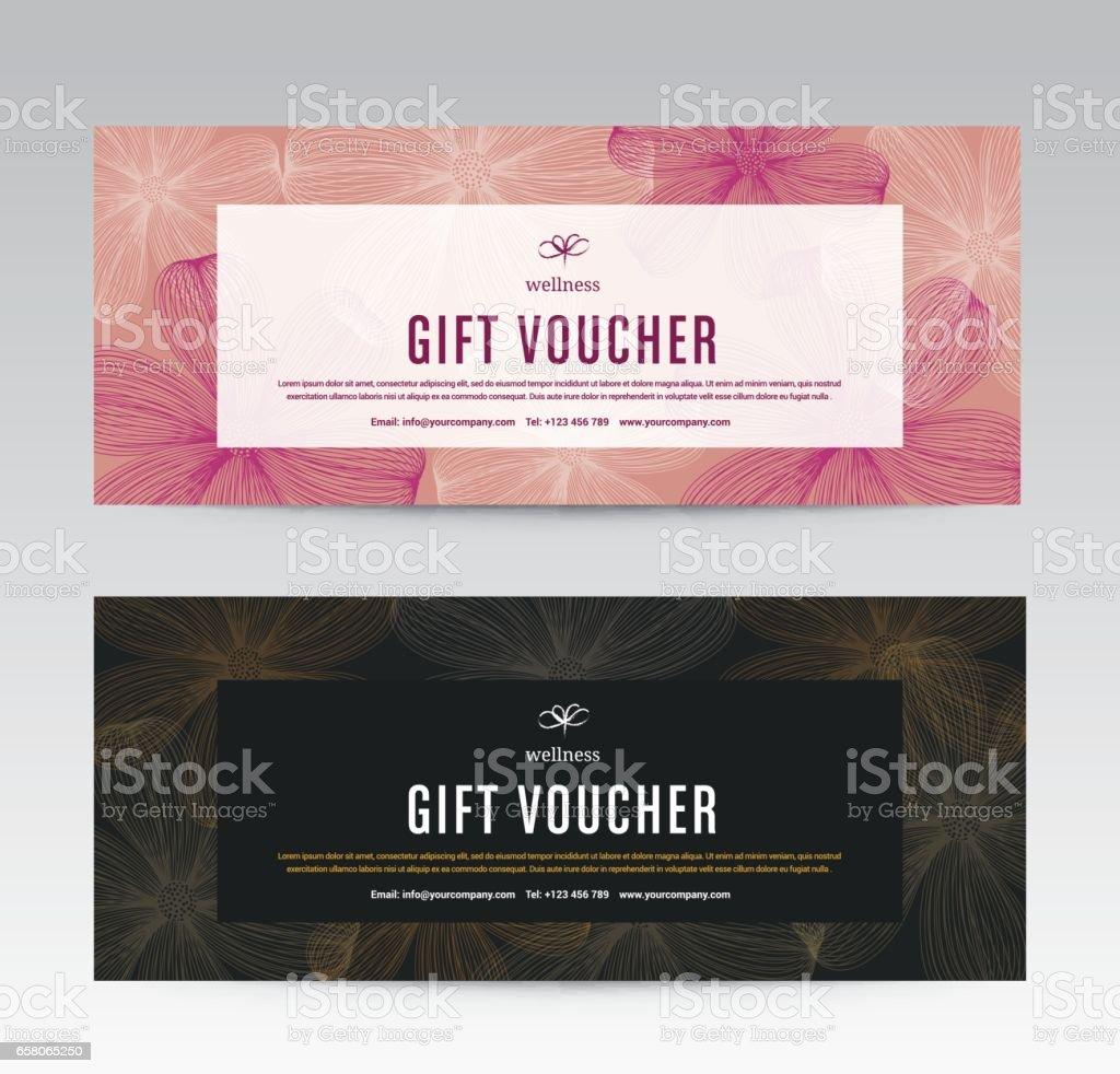 Cadeau de modèle de pièce justificative pour Spa, fleur printemps Hotel Resort, illustration vectorielle - Illustration vectorielle