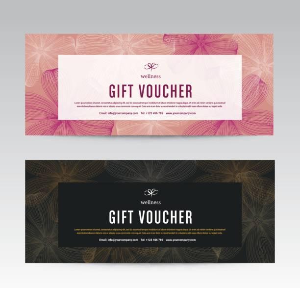 gift voucher template for spa, flower spring hotel resort, vector illustration - coupon stock illustrations, clip art, cartoons, & icons