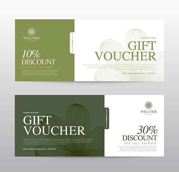illustrazioni stock, clip art, cartoni animati e icone di tendenza di gift voucher template for spa, hotel resort, vector illustration - coupon