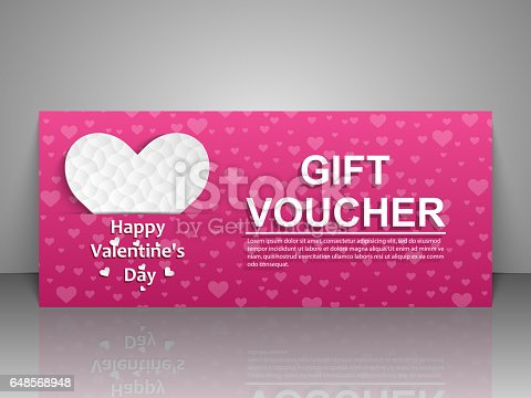 Gift Voucher Template Greeting Card For Valentine Day Vektor