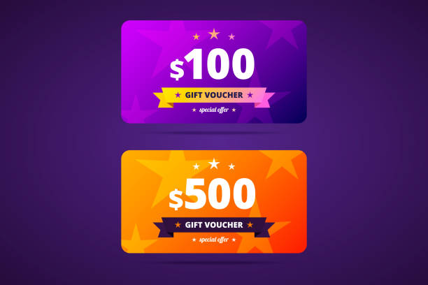 Gift voucher template in two color variants. Gift voucher template in two color variants. 100 and 500 dollars voucher. Vector illustration. coupon stock illustrations