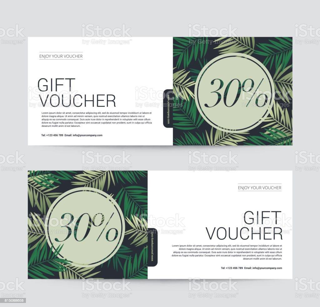 Gift Voucher modèle prime pour Spa Resort Hotel, fond arbre cocotier, illustration vectorielle - Illustration vectorielle