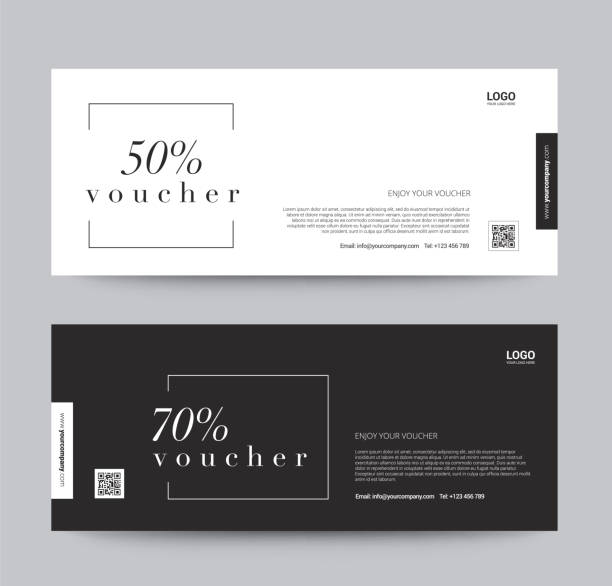 gift voucher template promotion sale discount, black and white background, vector illustration - tickets and vouchers templates stock illustrations