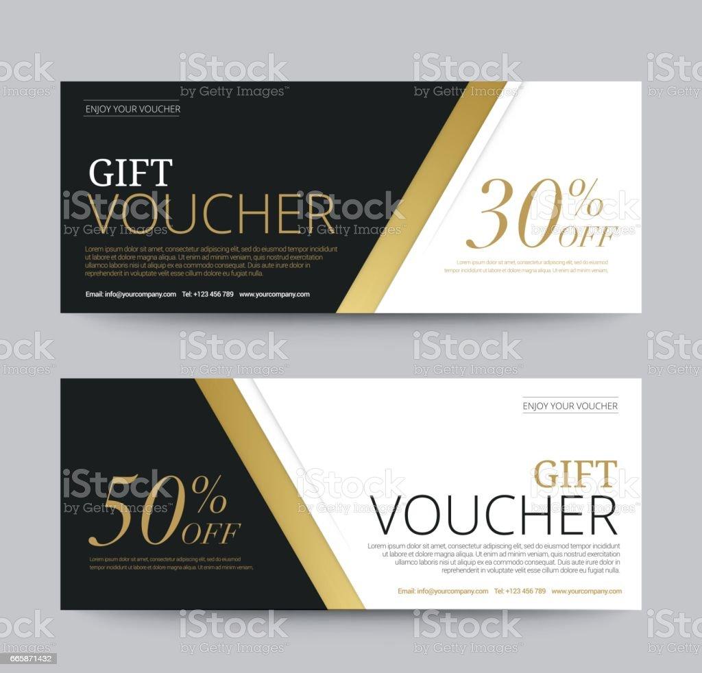 Gift Voucher Template Promotion Sale discount, Gold background, vector illustration vector art illustration